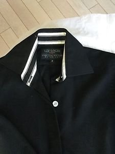 NEW Liz Logie Black Long Sleeve Button Down French Cuff Shirt - 2