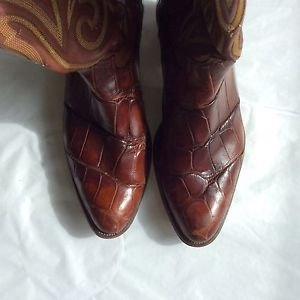 Justin Cowboy Boots in American Alligator Skin - 10.5 D