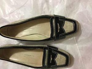 VG CONDITION Attilio Giusti Leombruni BLack Patent Leather w/ Fabric Loafers -37