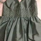 NEW Anne Klein 100% Silk Sage Green Halter Party Dress w/ Beading at Waist - 12