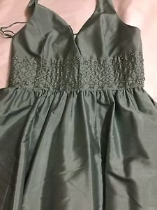NEW Anne Klein 100% Silk Sage Green Halter Party Dress w/ Beading at Waist - 12