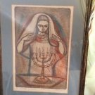 "ARTIST PROOF Irving Amen ""Sabbath Blessing""  Jewish Shabbat Hand-Colored Etching"