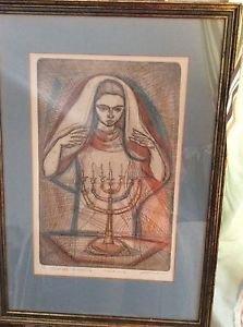 "ARTIST PROOF Irving Amen ""Sabbath Blessing""  Jewish Shabbat Hand-Colored Etching"