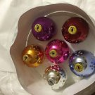 NEW VINTAGE Set of 6 Flat Bottomed Christmas Ornaments in Assorted Colors