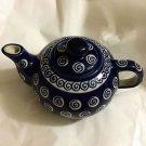 NEW Boleslawiec Zaklady Blue Dotted Spiral Teapot