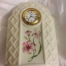 "EXCELLENT CONDITION Belleek Country Trellis Clock - 6""T x 4.5""W"