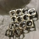"""SET of 4 Silverplated Mid-Century Modern Cubic Shaped Napkin Rings - 1.5"""""""
