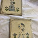 "VINTAGE Pair (2) of Italian Glazed Tiles - 6"" Square"