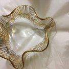 EXCELLENT CONDITION Laurel Fyfe Slump Glass Art Bowl w/ Gold