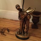 DECORATOR QUALITY Brass/Mixed Metals Art Deco Figural Lamp