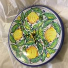 """EXCELLENT CONDITION Italian Pottery 9.5"""" Wall Clock Hand-Painted Lemons w/o Dial"""