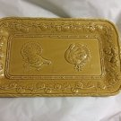 "EXCELLENT CONDITION Bordallo Pinheiro Yellow Tray w/ Turkey Motif - 8.25"" x 13.5"