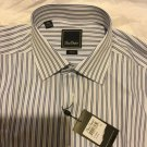 NEW David Donahue Mens Trim Fit Striped French/Cuff Dress Shirt 16 - 34/35