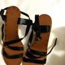 EXCELLENT CONDITION ASH Black Leather Wedge Sandals - EU 40/US 9.5