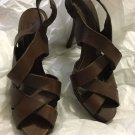 EXCELLENT CONDITION Zara Woman Brown Leather Crisscross Sandals - 38/7.5