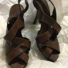 EXCELLENT CONDITION Zara Woman Brown Leather Crisscross Sandals - 38/7.5
