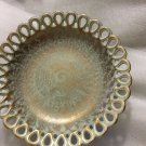 RARE Stangl Antiqued Gold Pedestal Bowl w/ Lace Edging - #5054