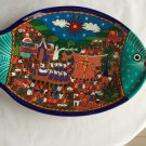 """AUTHENTIC Mexican Redware/Terra-cotta Hand-PaInted Hanging Wall Plate - 14.25"""""""