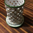 R.C. & Cal da Juncal Porto de Mos Pierced Portuguese Pottery Candle Holder -