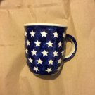 BOLESLAWIEC Zaklady Blue Stars Large Coffee Mug/Cup