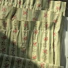 """EXCELLENT COND. Pair Rod Pocket Curtains Stripe and Floral Pattern - 33"""" x 63"""""""