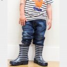 NEW POLARN O. PYRET Classic Blue Stripped Rain Boots - 27