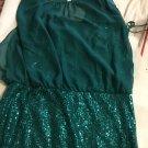 NEW Adrianna Papell Aquamarine Sequin Dress w/ Sheer Top - 12