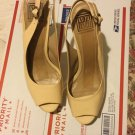 Pour la Victoire Nude Patent Leather Peep-Toe Slingbacks w/ Cork Platform - 10