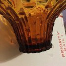 EXCELLENT CONDITION Vintage 1960s Amber  Art Glass Bowl w/ Bamboo Detail