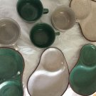 EXCELLENT CONDITION Mixed Set of 4 Glazed Terra-cotta Snack plates w/ Cups