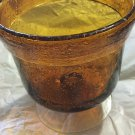 "VINTAGE Handblown Seeded Amber Glass Bowl w/ Pedestal - 4.75""W x 5""T"