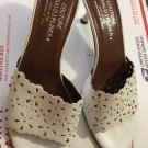 Donald J Pliner Couture White Open-Toe Mules w/ Perforated Leather Details - 9