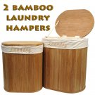 Set of 2 Oval Bamboo Laundry Hampers with Cotton Liners