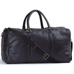 "Embassy Black 21"" Hand-Sewn Pebble Grain Genuine Leather Duffle Bag  Item: LULDUF21"