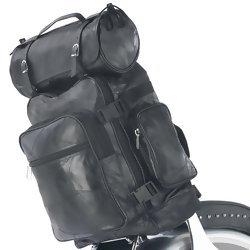 Diamond Plate 3 pc Rock Design Genuine Buffalo Leather Motorcycle Bag Set  Item: LUMCBP