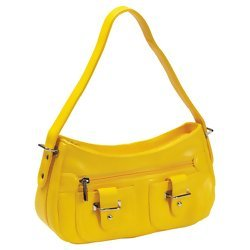 Embassy Yellow Zippered Faux Leather Purse  Item: LUPR115