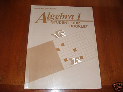 Abeka A Beka Algebra 1 Student Quiz Booklet Teacher Key
