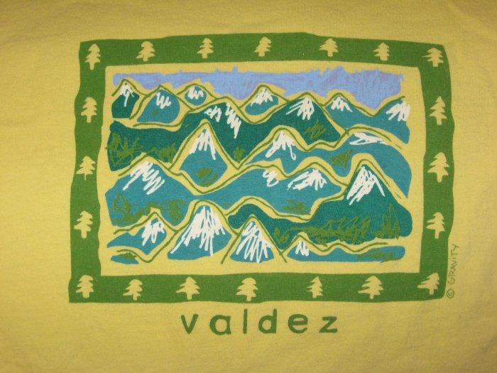 Valdez Alaska AK Mountain Scene Yellow T-Shirt Size Large