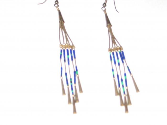 Vintage Native Alaskan Metal Beaded Earrings Old Rare Unique