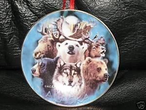 "Alaska Wildlife Christmas Ornament Plate 3.25"" Alaskan"