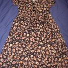 Maternity Rayon Career Dress Black Brown Floral Size Small