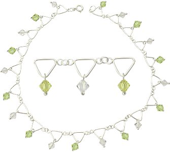 Austrian Crystal Beads Anklet. KSANKC22