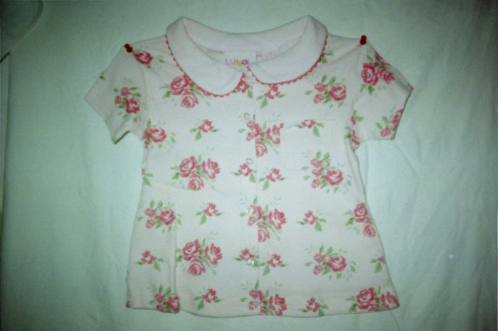 Toddler Girls Pink Rose Print Collar Top Shirt Size 4T