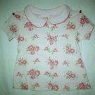 Toddler Girls Pink Rose Print Collar Top Shirt Size 2T