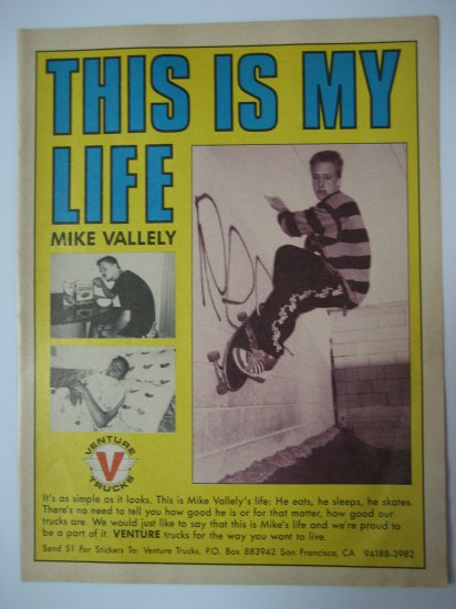 Original Mike Valley Advertisement Rare Vintage