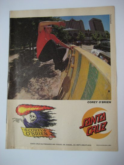Original Santa Cruz SkateBoard Advertisement Rare Vintage Corey O'Brien