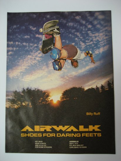 Original Airwalk SkateBoard Advertisement Rare Vintage Billy Ruff