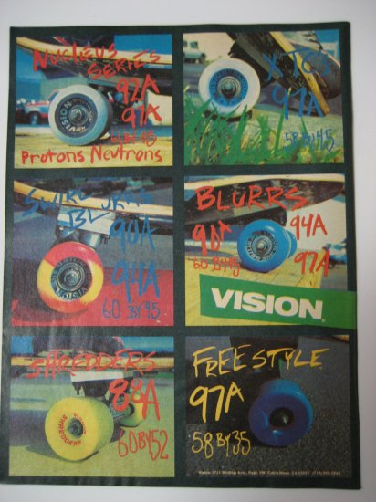 Original Vision SkateBoard Advertisement Rare Vintage