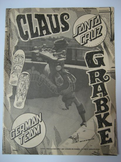 Original Santa Cruz SkateBoard Advertisement Rare Vintage Claus Grabke
