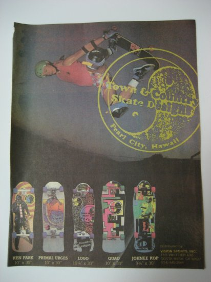 Original Town and Country SkateBoard Advertisement Rare Vintage T&C